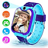Kids Smart Watches-Children's Smart Watch with SD Card,Game,Music Player,Camera,Alarm Clock,HD Touch Screen Sports Kids Watch with Call,can be Worn by Boys and Girls,Suitable for Aged 3-12(Blue)