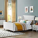 Modway Aubree Upholstered Fabric Sleigh Queen Platform Bed in White