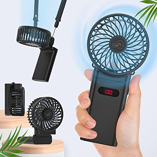 Portable Handheld Fan, 4000mAh 15hrs Mini Battery Operated Fan Personal Fan with Lanyard&LCD, 4 Speeds Strong Wind, Foldable Design for Office, Hiking, Camping, Travel