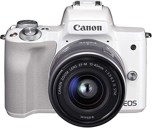 Canon キヤノン ミラーレス一眼カメラ EOS Kiss M ホワイト レンズキット EF-M15-45 IS STM付属 EOSKISSMWH-1545ISSTMLK-A