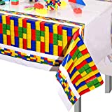 3 Pieces 42.5 x 70.9 Inches Building Blocks Tablecover Brick Block Tablecover Birthday Tablecover Disposable Rectangular Tablecovers for Birthday Party, Baby Shower Decorations