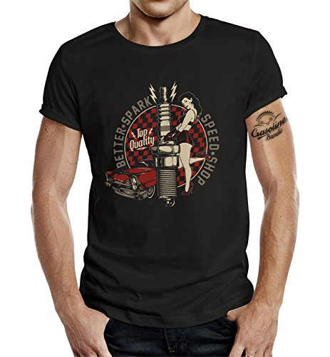 GASOLINE BANDIT® - Camiseta - Manga Corta - para Hombre Negro M
