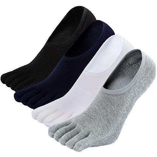 LOFIR Calzini Invisibili con Dita Separate da Uomo Calze 5 Dita, Sneaker Calzini Antiscivolo in Cotone per Uomo Calze Traspirante con le dita dei piedi, Taglia 39-44, 4 paia