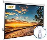 Auto Motorized Projector Screen 100 inch 16:9 HD Diagonal with Remote Control, Wall/Ceiling Mounted Electric Movie Screen Wrinkle-Free, Great for Home Office Theater TV Usage