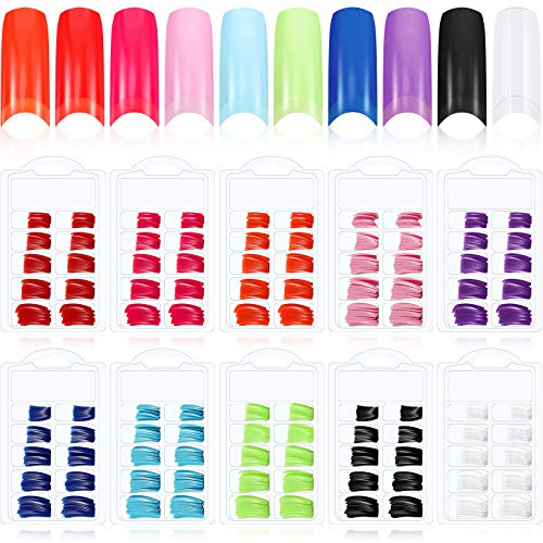 1000 Pieces Colorful French False Acrylic Gel Nail Solid Color Full Cover Fake Nails 10 Boxes Press on Nail Tips Half with Box for Nail Salons DIY Nail Art