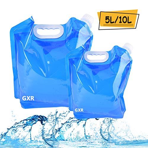 Ariel-gxr Set de 2bidons pliables et portables pour eau potable (5 l + 10...