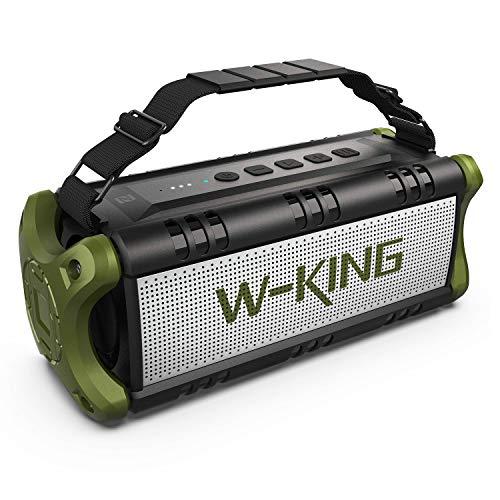 【Upgraded】 50W(70W Peak) Wireless Bluetooth Speakers Built-in 8000mAh Battery Power Bank, W-KING Outdoor Portable Waterproof TWS, DSP, NFC Speaker, Powerful Rich Bass Loud Stereo Sound