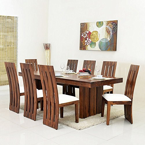 @home By Nilkamal Delmonte Eight Seater Dining Table Set (Brown)