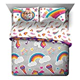 Jay Franco Nickelodeon JoJo Siwa Rainbow Sparkle 7 Piece Queen Bed Set - Includes Reversible Comforter & Sheet Set Bedding - Super Soft Fade Resistant Microfiber (Official Nickelodeon Product)
