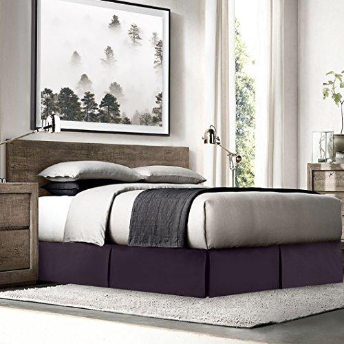 Empyrean Bedding Pleated Bed Skirt - Luxury Microfiber Dust Ruffle - 14 Tailored Drop - Sleek Modern Bed Skirt - Bonus Bed Skirt Pins Set of 8 Included, Cal King, Eggplant