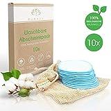 DERMATEST: SEHR GUT - PURAVA [10x] Abschminkpads waschbar - 100% Biologische Baumwolle - Zero Waste Alternative - Nachhaltige Reinigungspads wiederverwendbar -Idealer Make Up Entferner