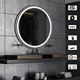 AI-LIGHTING Bathroom Mirror with Lights Large Dimmable LED Makeup Vanity Brushed Metal Mirror with Lights Touch Button Horizontal/Vertical Anti-Fog (Brushed Aluminum, 20x28inch)