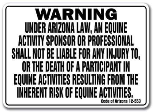 Arizona Equine Sign Activity Liability Warning Statute Horse Farm barn Stable