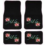 UAA 4pc Aloha Hawaiian Flower Hello & Goodbye Front & Rear Carpet Floor Mat Set