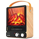Portable Fireplace Heater Mini Electric Fireplace Tabletop 750W/1500W, Realistic Embers,2 Settings, Overheat Protection