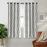 jinchan Grey Curtains 45 inch 2 Panel for Bedroom Home Kitchen Grommet Linen Texture Thermal Insulated Room Darkening Drapes Moroccan Tile Print Curtain Set Soft Gray on Flax