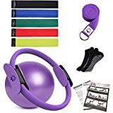 YXILEE Pilates Ring Set Yoga Fitness Circle Fabric Resistance Exercise Band Set, Pilates Ball Stretch Strap Non Slip Socks,Workout Guide - Workout Equipment for Home Workouts (Purple)