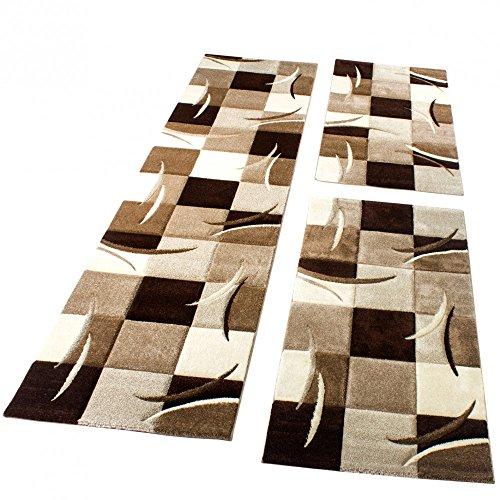 Set Tappeti Guide Corridoio 3 Pezzi - Motivo Quadri - Marrone, Panna, Beige, Dimensione:2 Pezzi...