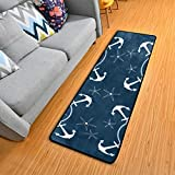 Retro Nautical Anchors Navy Kitchen Rugs Non-Slip Soft Doormats Bath Carpet Floor Runner Area Rugs for Home Dining Living Room Bedroom 72' X 24'