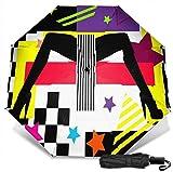 Paraguas de viaje Protección UV a prueba de viento (fondo de arte de tacones altos)