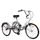 Adult Tricycle Trikes, Single Speed 3 Wheel Bikes,26 Inch Cruiser Bicycle with Large Shopping Basket for Seniors,Women and Men -Silver