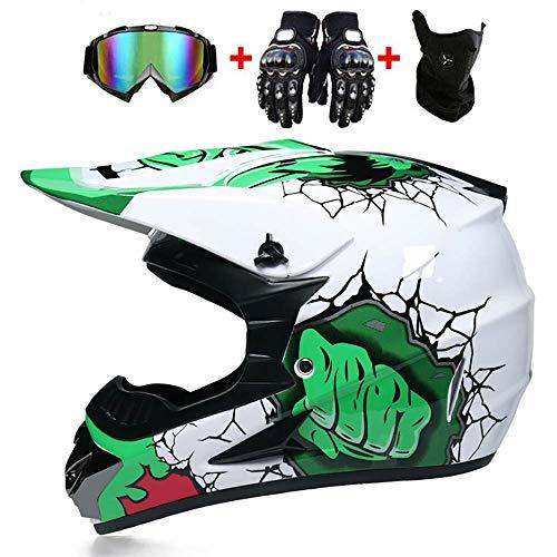 Helmet LWAJ Caschi integrali da Bambino per Bambini, caschi da Uomo per Motocross, caschi da Moto...