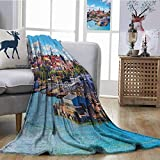 Zmcongz Lightweight Blanket European Cityscape Decor Collection Scenic Summer of Old City and Sea Port in Harbor Estonia Historical Heritage Print Cozy for Couch Sofa Bed Beach Travel W54 xL84 Multi