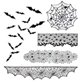 ANPHSIN 4 Pieces Halloween Cobweb Fireplace Scarf Mantle- Lace Spiderweb Tablecloth Round& Rectangle Spider Web Table Cover Table Runner Halloween Decorations and 24 Bats Wall Stickers for Home Decor