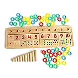 Aibecy-Juego de Matemáticas de Madera Número de Tablero Rompecabezas Clasificación Juguetes Montessori Herramientas de Aprendizaje Educativo para Niños Niños Pequeños Preescolares Educación Temprana