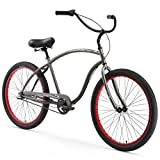 Firmstrong Chief Man Three Speed Beach Cruiser Bicycle with Red Rims, 15.5x26-Inch, Matte Grey