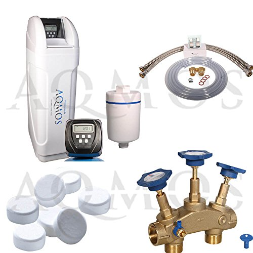 Hochwertige Aqmos CM-60 Wasserenthärtungsanlage im Set mit Montageblock und 100kg Regeneriesalztabletten | Wasserenthärtungsanlage für Haushalte bis zu 5 Personen | Entkalkungsanlage | Antikalkanlage | Doppelenthärtungsanlage | Entkalker