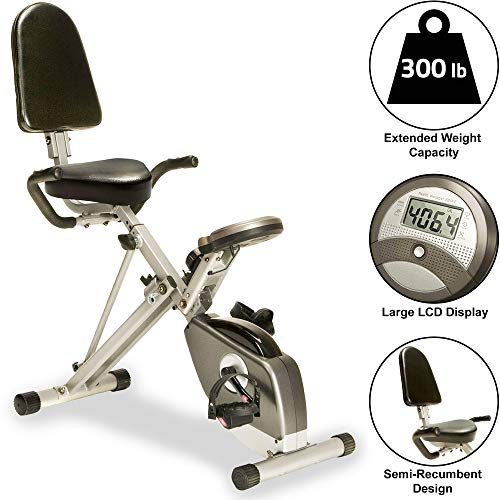 EXERPEUTIC 300SR Heavy Duty 300 LBS Weight Capacity Foldable Recumbent Bike with Balanced Flywheel, Large LCD, Magentic Tension and Quiet V-Belt Double-Drive Transmission System