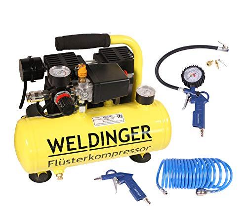 Aktionsset WELDINGER Flüster Kompressor FK 40 compact + Druckluftset 6-teilig