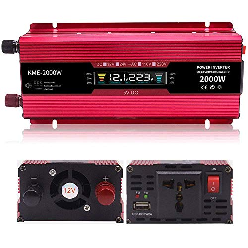 DJNBQ 600W 1200W 2000W Inverter 12V / 24V DC a 110V / 230V AC Invertor, convertitore dell'automobile con prese AC e porta USB for il computer portatile, Smartphone, 12vto220v-600W, 1200W, 24vto220v DJ