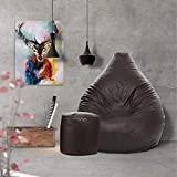 Aart Store Classic XXXL with Footstool Filled Bean Bag with Beans - (Brown)
