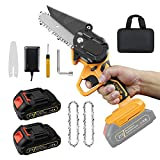 Mini Cordless Chainsaw, 4'' Portable Handheld Electric Chainsaw Kit, with 2 Pack 2500mAh Rechargeable Lithium-ion Battery, for Tree Wood Cutting, Branches Logging, and Orchard Pruning