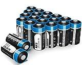 AHJ Piles lithium CR123A 3V 1600mAh, Lot de 20, avec une durée de vie de 10...