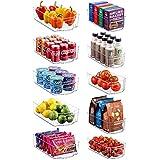 Set Of 10 Refrigerator Organizer Bins - 5 Wide and 5 Narrow Stackable Fridge Organizers for Freezer,...