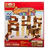 Ideal Timeless Toys Amaze 'N' Marbles 60 Piece Classic Wood Kids Construction Set