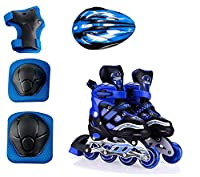 The inline skate shoe size is adjustable Like Small To Big And Big to Small Wheel : PU (Polyurethane) With Led Flash For First Wheels, Wheel Holder: Two Thicken Aluminium Alloy High Quality Body In-Line Skates Combo Size L (38-43 ) Skates for Kids Ag...