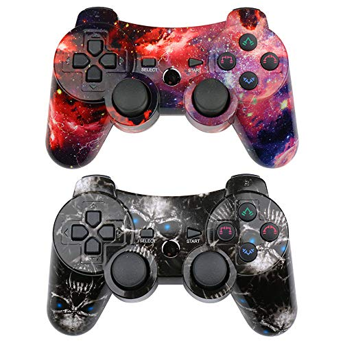 CHENGDAO PS3 Controller 2 Pack Wireless Dual Shock Upgraded Gamepad for Sony Playstation 3 with Charging Cord (Skull + Galaxy)