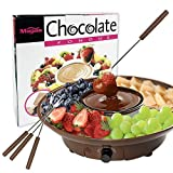 Chocolate Fondue Maker - 110V Electric Chocolate Melting Pot Set with Stainless Steel Bowl, Serving Tray, 4 Steel Forks, Brown