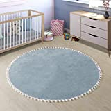LEEVAN Faux Wool Round Rug Shaggy Nursery Rug Cute Pom Pom Fringe Baby Crawling Mat Kids Play Non-Slip Floor Carpet for Living Room Bedroom Sofa Teepee Tent Decor, 3ft-Light Blue