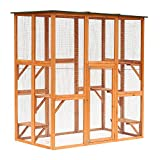 PawHut Large Wooden Outdoor Catio Enclosure with Weather Protection, Cat Patio with 6 Platforms 71' x 38.5' x 71'