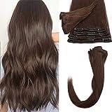 55cm - Clip in Extensiones de Cabello Humano 75g 100% Remy Human Hair 8 Piezas 18 Clips Pelo Natural...
