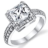 2 Carat Princess Cut Cubic Zirconia Sterling Silver 925 Wedding Engagement Ring Size 4