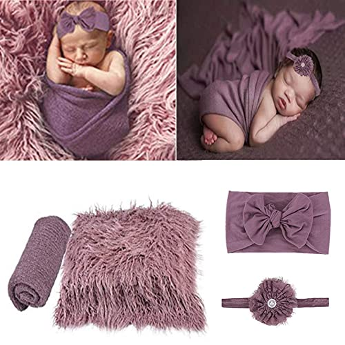 4 Pcs Newborn Photography Props Outfits- Baby Long Ripple Wrap...