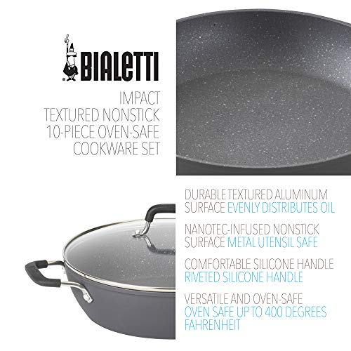 Product Image 2: Bialetti Textured Nonstick 10-Piece Oven-Safe Cookware Set, Gray Impact