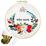 Embroidery Kit Cross Stitch Kit for Adults Beginners, Artilife Printed Embroidery Kit Starters Stamped Embroidery Hoops Floss Thread Needles