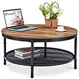 GreenForest Coffee Table Round 35.8' Industrial 2-Tier Sofa Table with...
